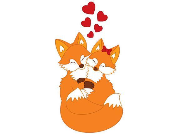 Love foxes digital vector. Couple clipart fox