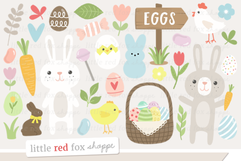 Happy by little red. Fox clipart easter