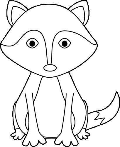Fox clipart outline. Black and white preschool