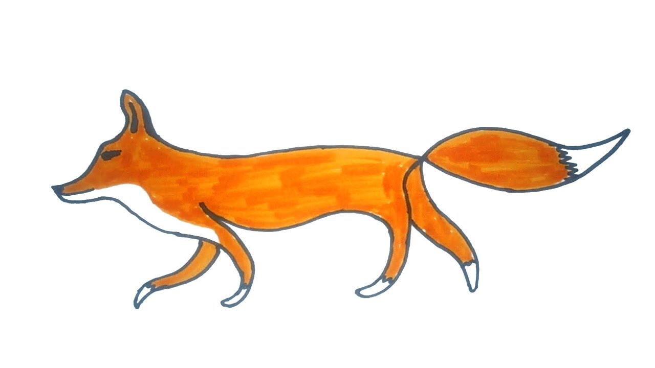 Drawing how to draw. Fox clipart easy