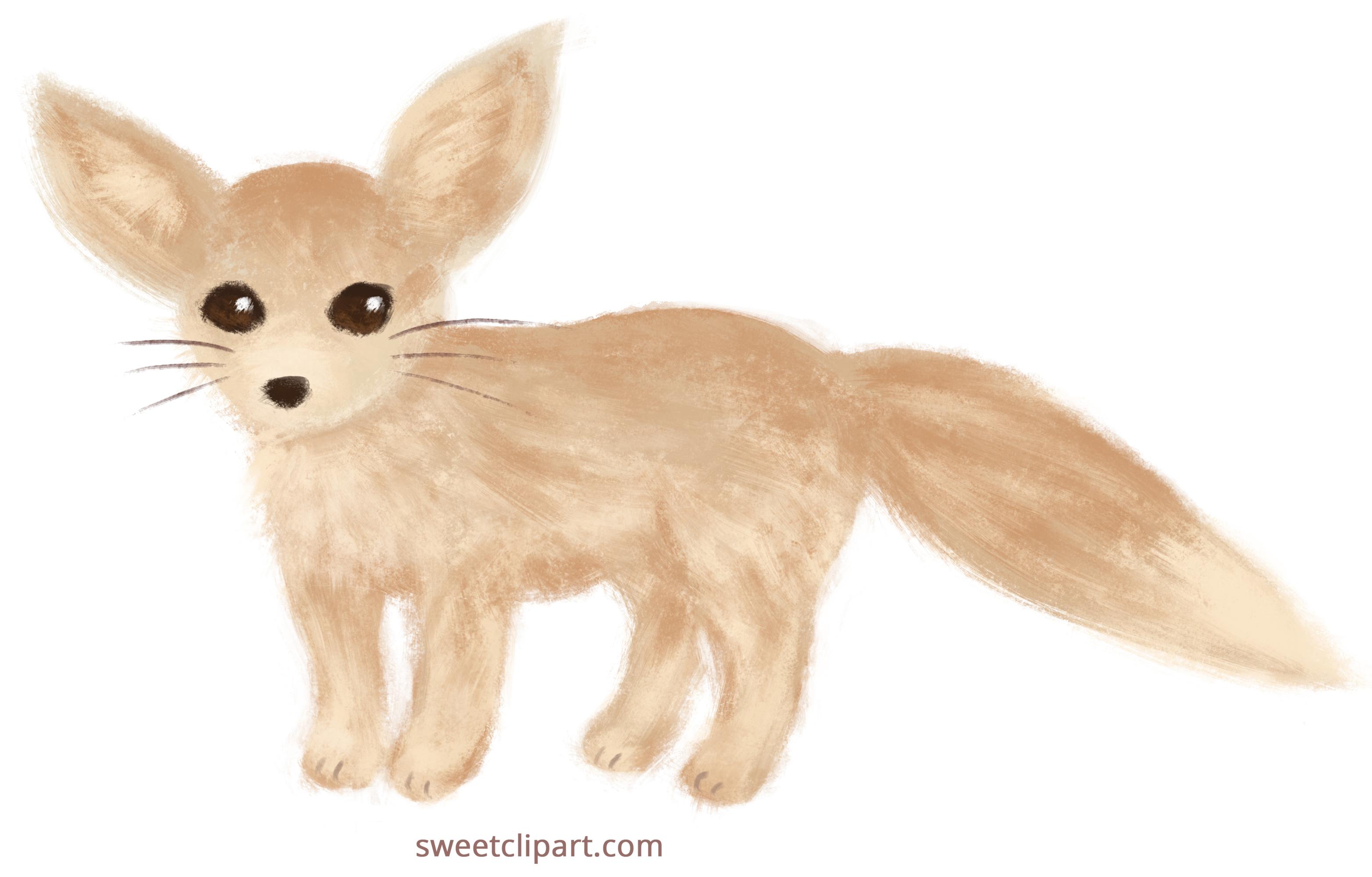 Clipart fox fennec fox. Painted clip art free