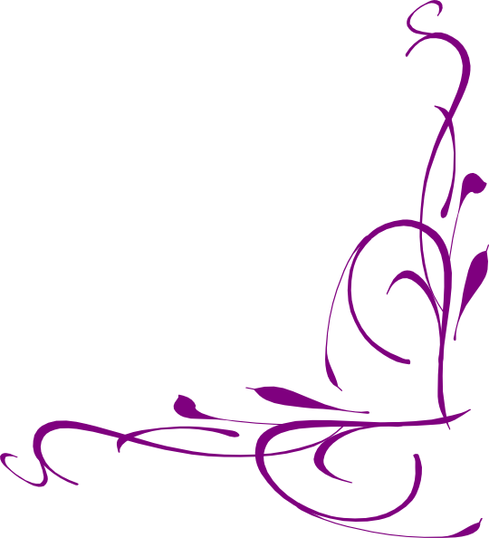 Floral swirly clip art. Purple clipart corner