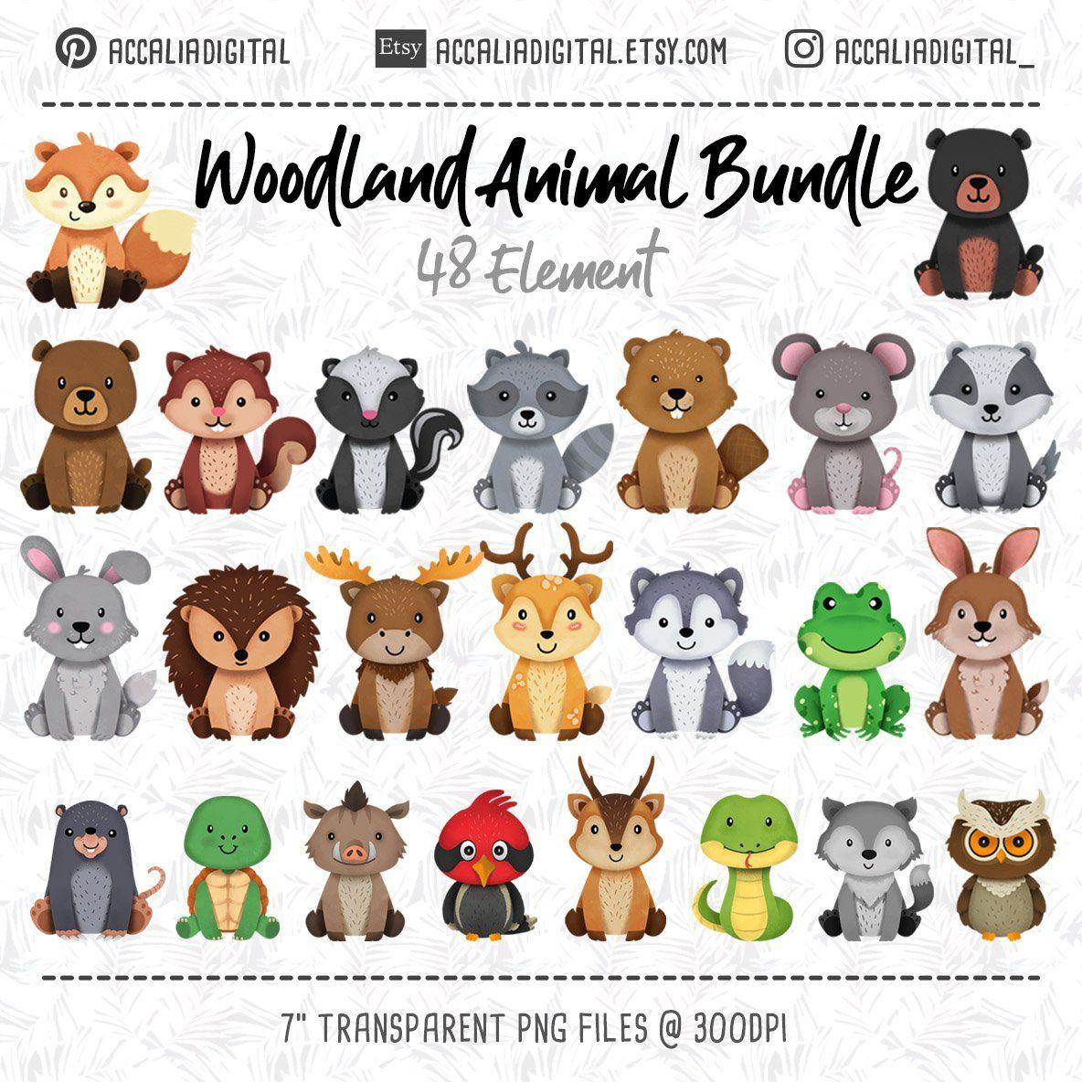 Animals cute sticker forest. Wolf clipart woodland