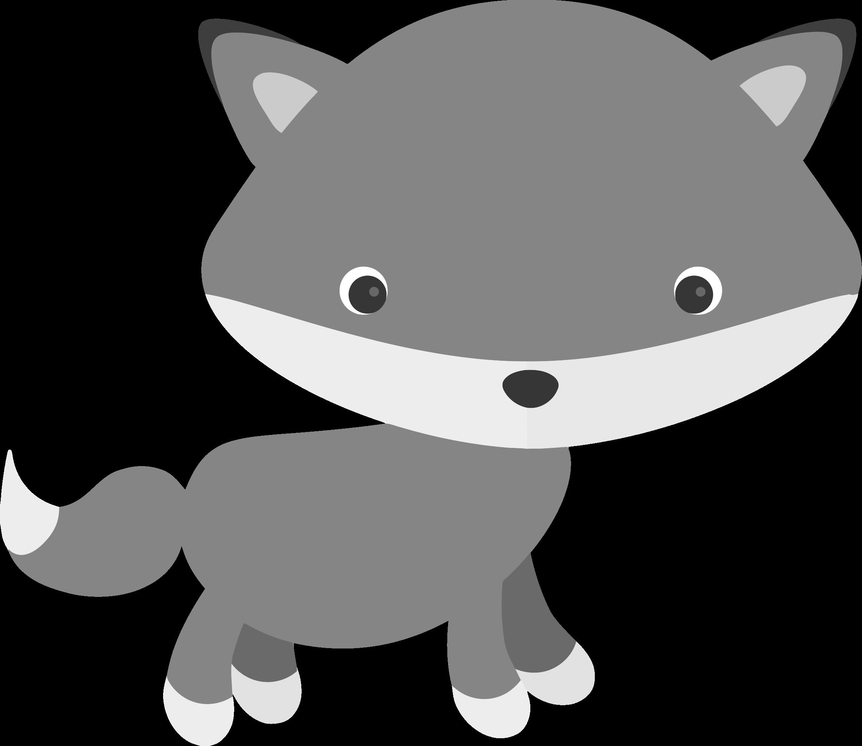 Fox clipart gray fox. Cute clipartblack com animal
