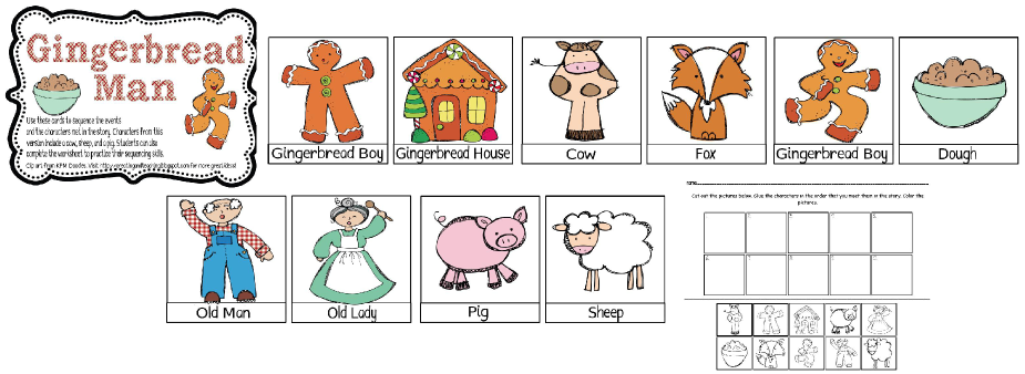 Fox clipart gingerbread man. Story sequencing printables freebie