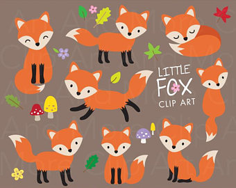 Clipart fox graphic. Etsy