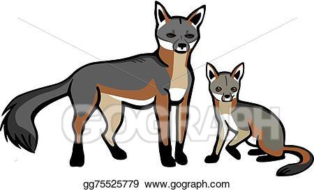 Fox clipart gray fox. Vector art mother and