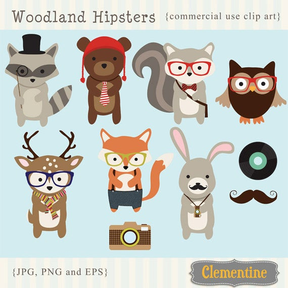 Hipster clip art images. Woodland clipart royalty free