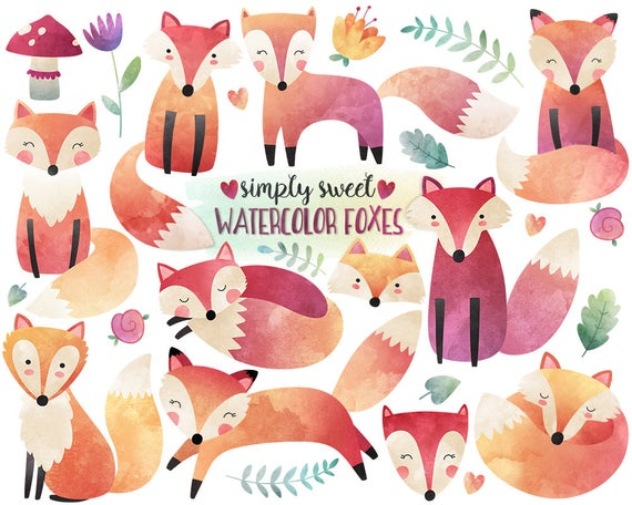 Fox clipart watercolor. Woodland illustration cute digital
