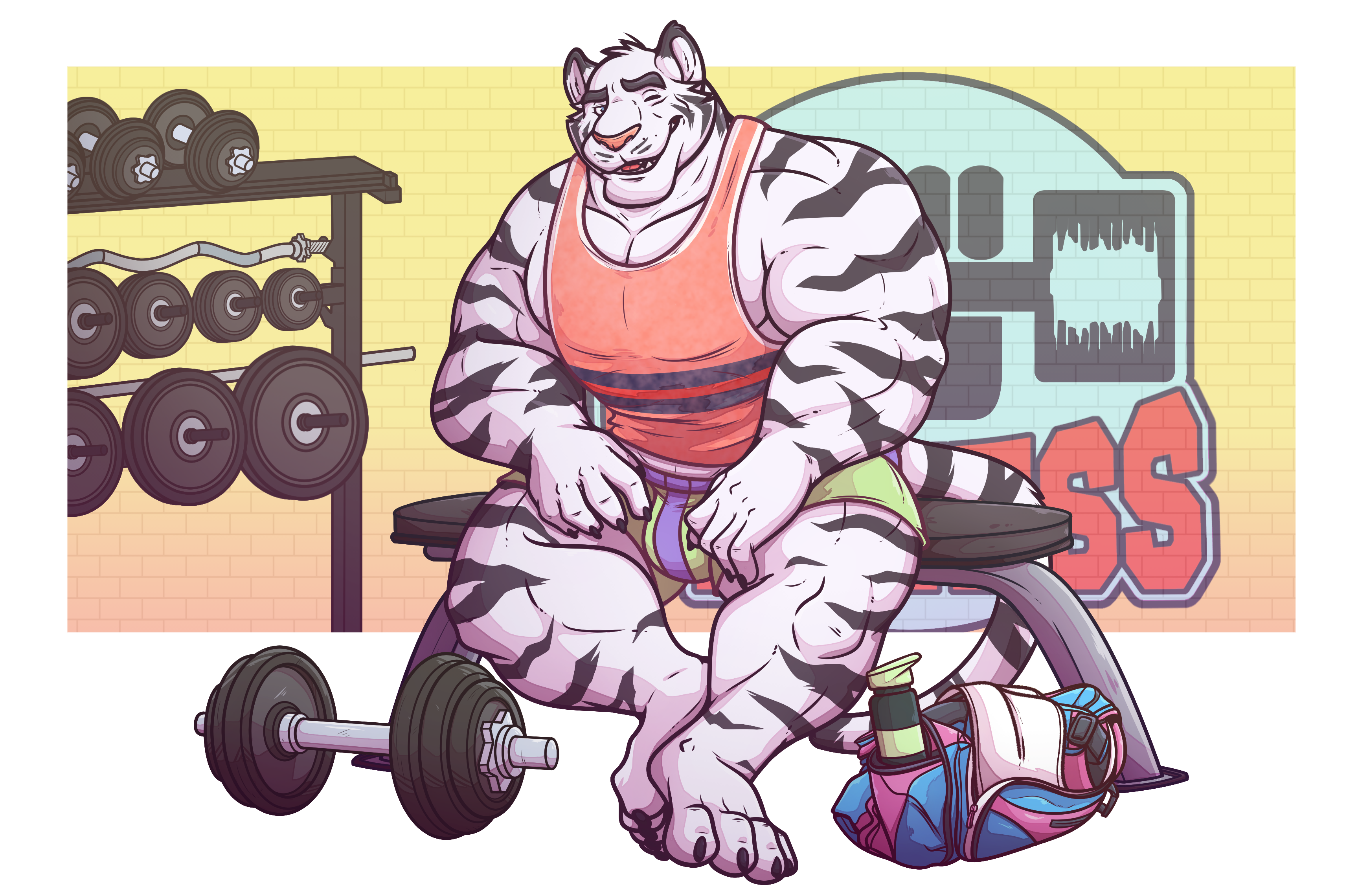 s gym tiger. Dumbbell clipart male fitness