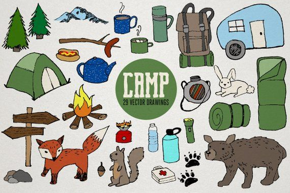 Fox clipart rustic. Camping ii wilderness drawings