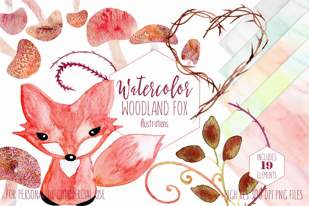 Cute watercolor woodland baby. Fox clipart rustic