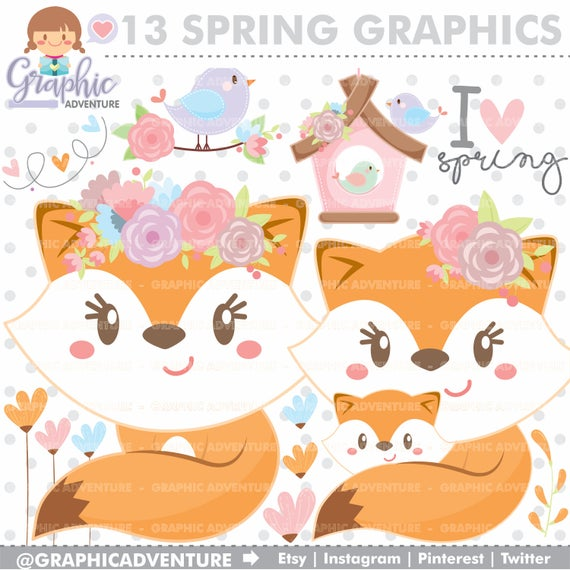 Graphics commercial use flowers. Fox clipart spring