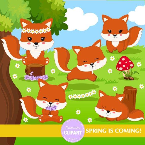 Fox clipart spring. Flower forest