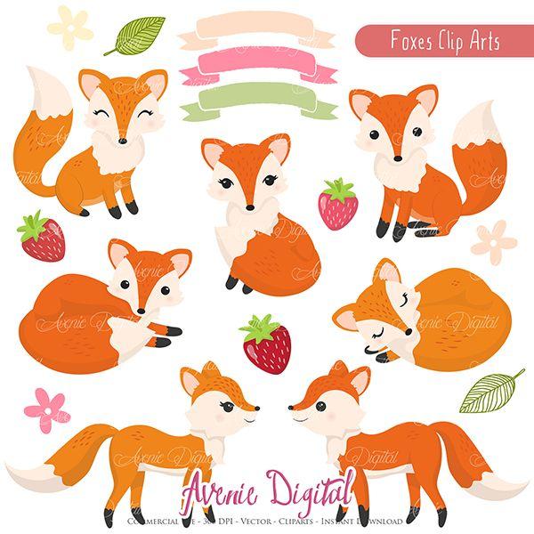 Cute scrapbook printables autumn. Fox clipart spring