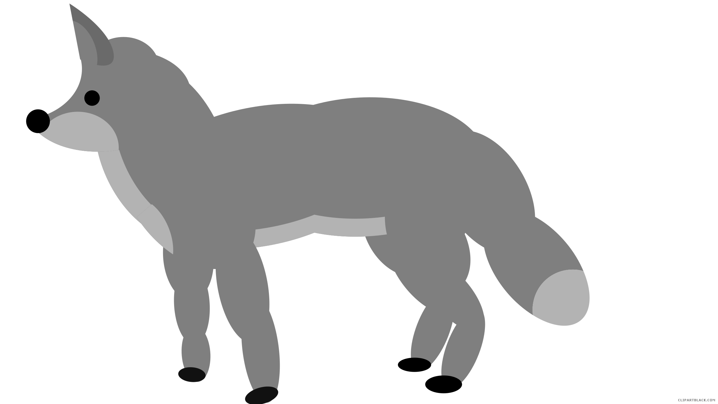 Standing clipartblack com animal. Fox clipart gray fox