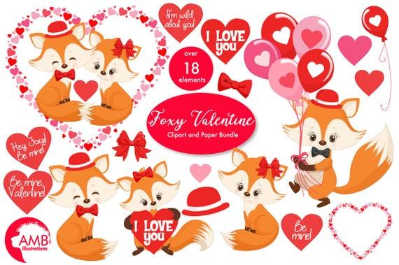 Foxes heart graphics cute. Valentine clipart fox