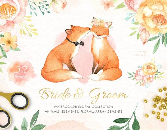 Fox clipart wedding. Bride groom watercolor woodland