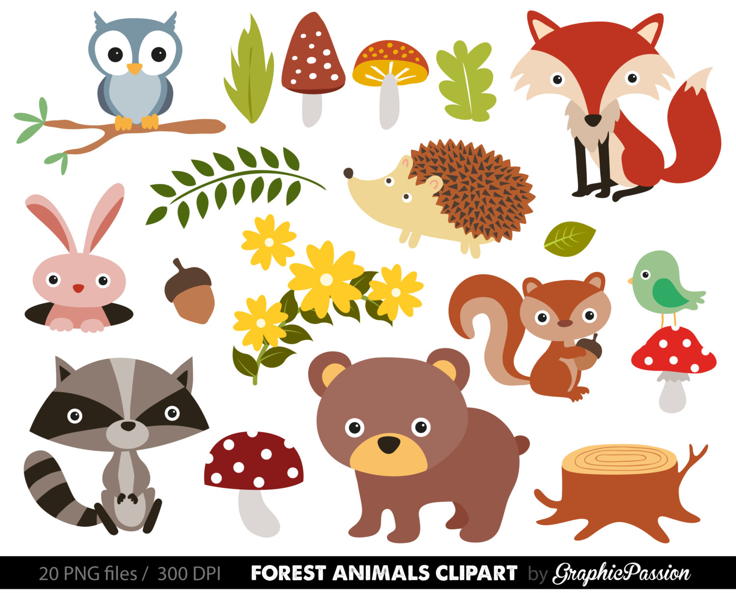 Free whimsical animal cliparts. Woodland clipart kid