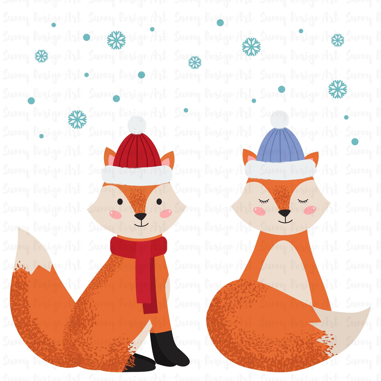 Cute forest animals vector. Fox clipart winter
