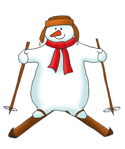 Snowman clipart couple. On skis
