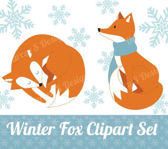 Fox clipart winter. Set instant digital download