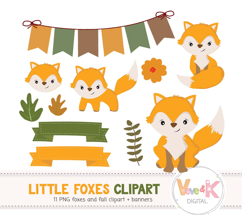 Clip art cute little. Clipart fox woodland