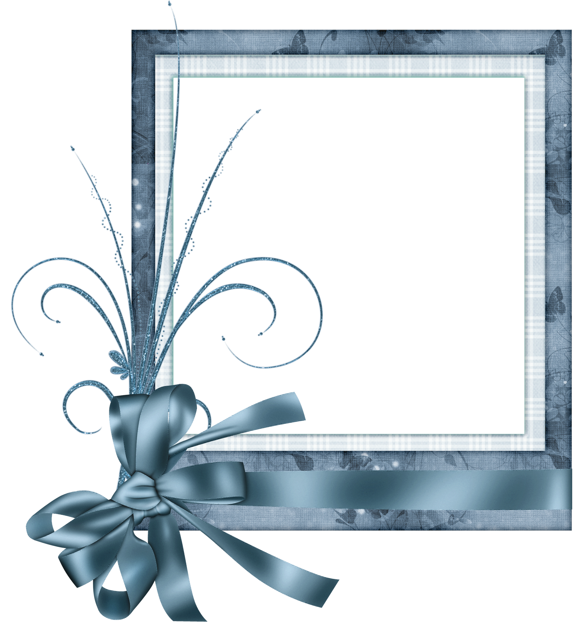 Clipart frame blue. Cute transparent with bow