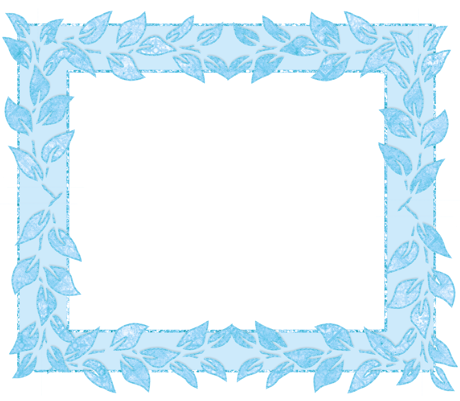 Transparent frame with leafs. Frames clipart blue