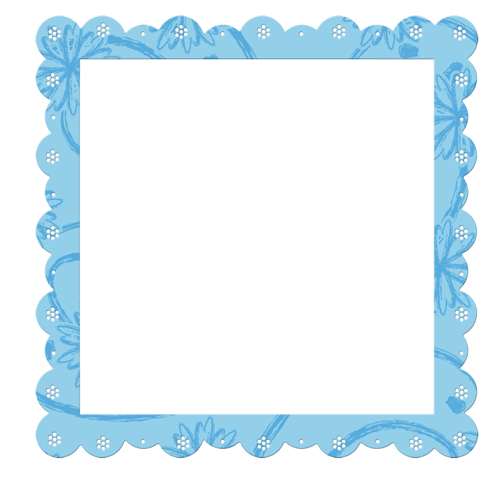 Transparent with flowers elements. Blue frame png