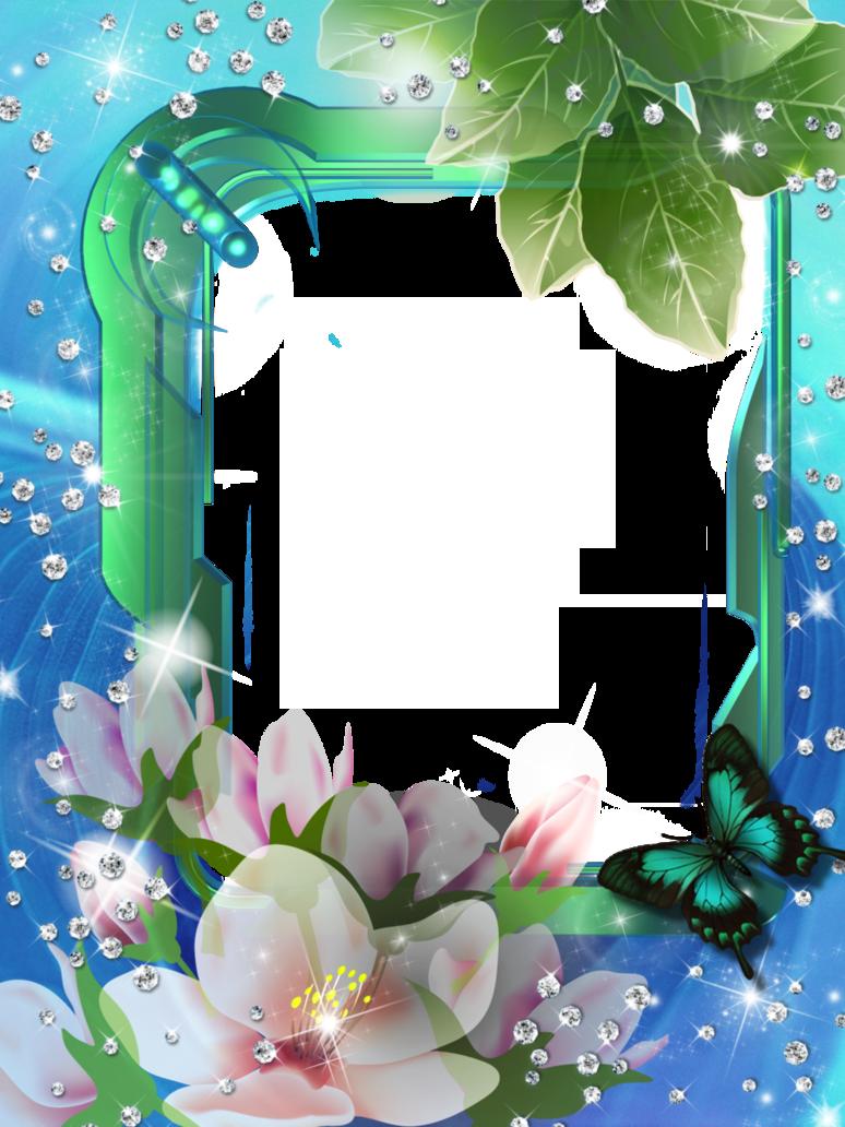 Diza frames png image. Clipart frame blue flower
