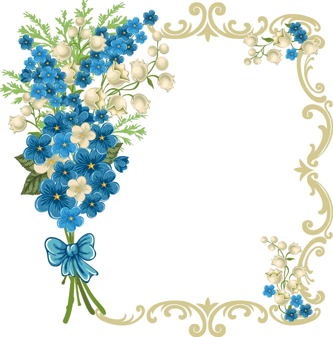 Border free download best. Clipart frame blue flower