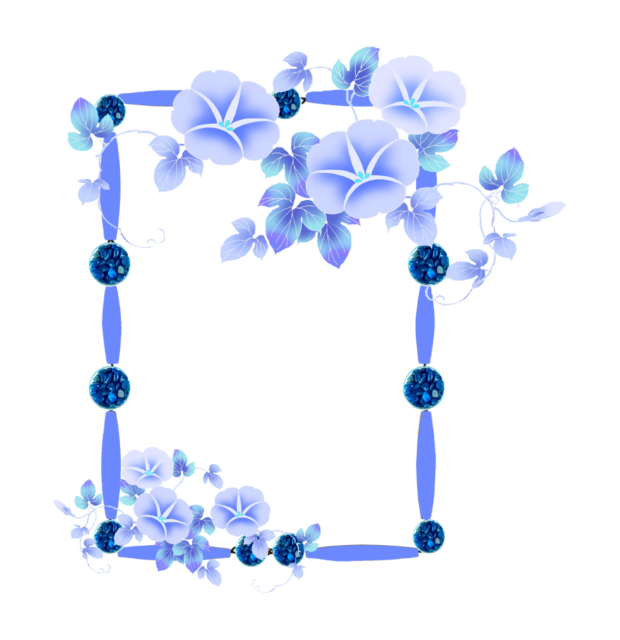 Clipart frame blue flower. Png with flowers by