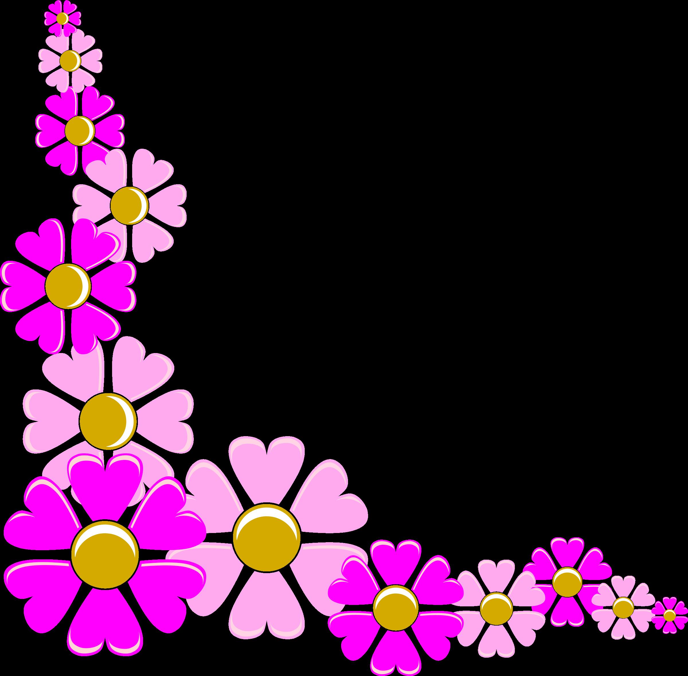 Floral clipart boho. Pink flower corner big