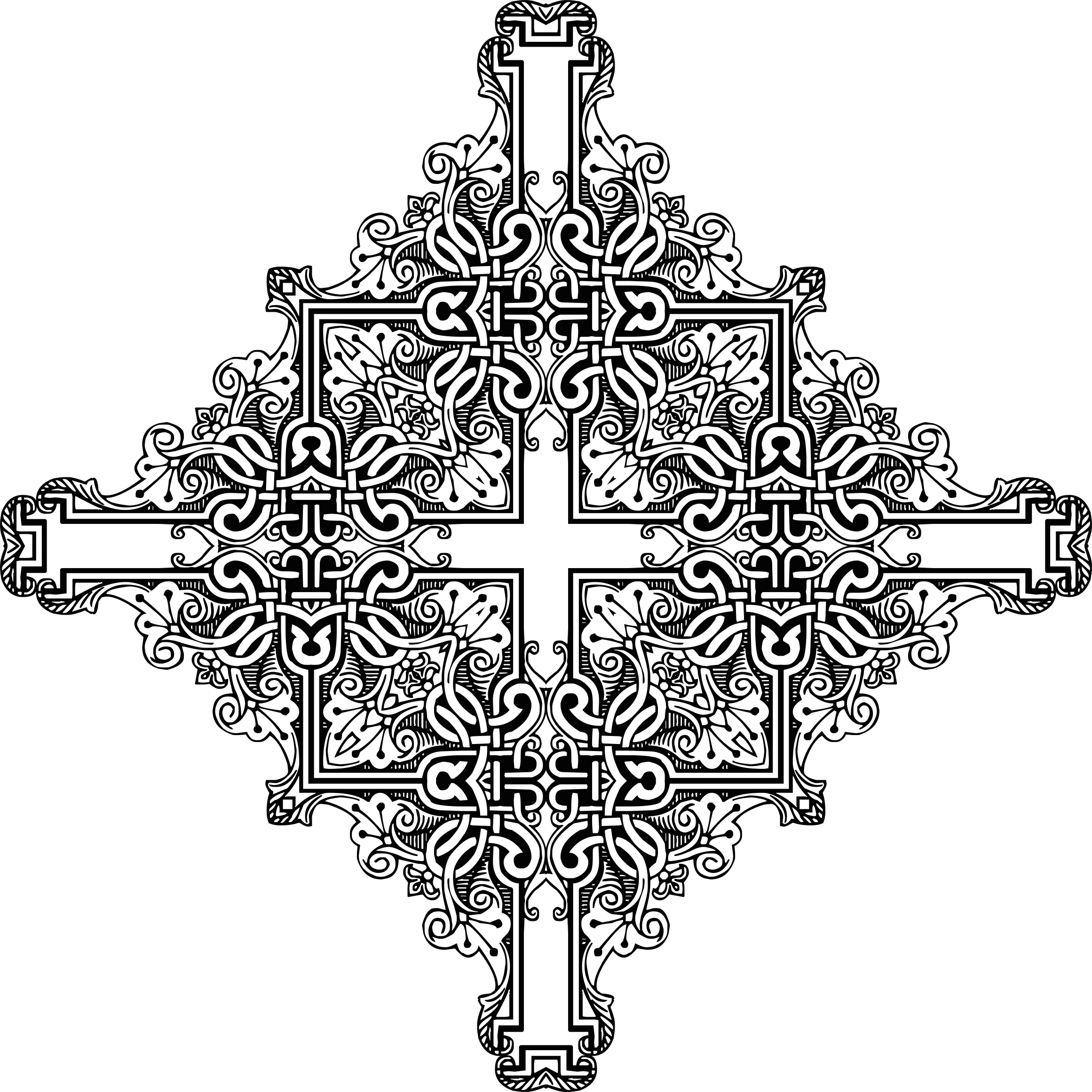 Vintage symmetric big image. Clipart frame cross