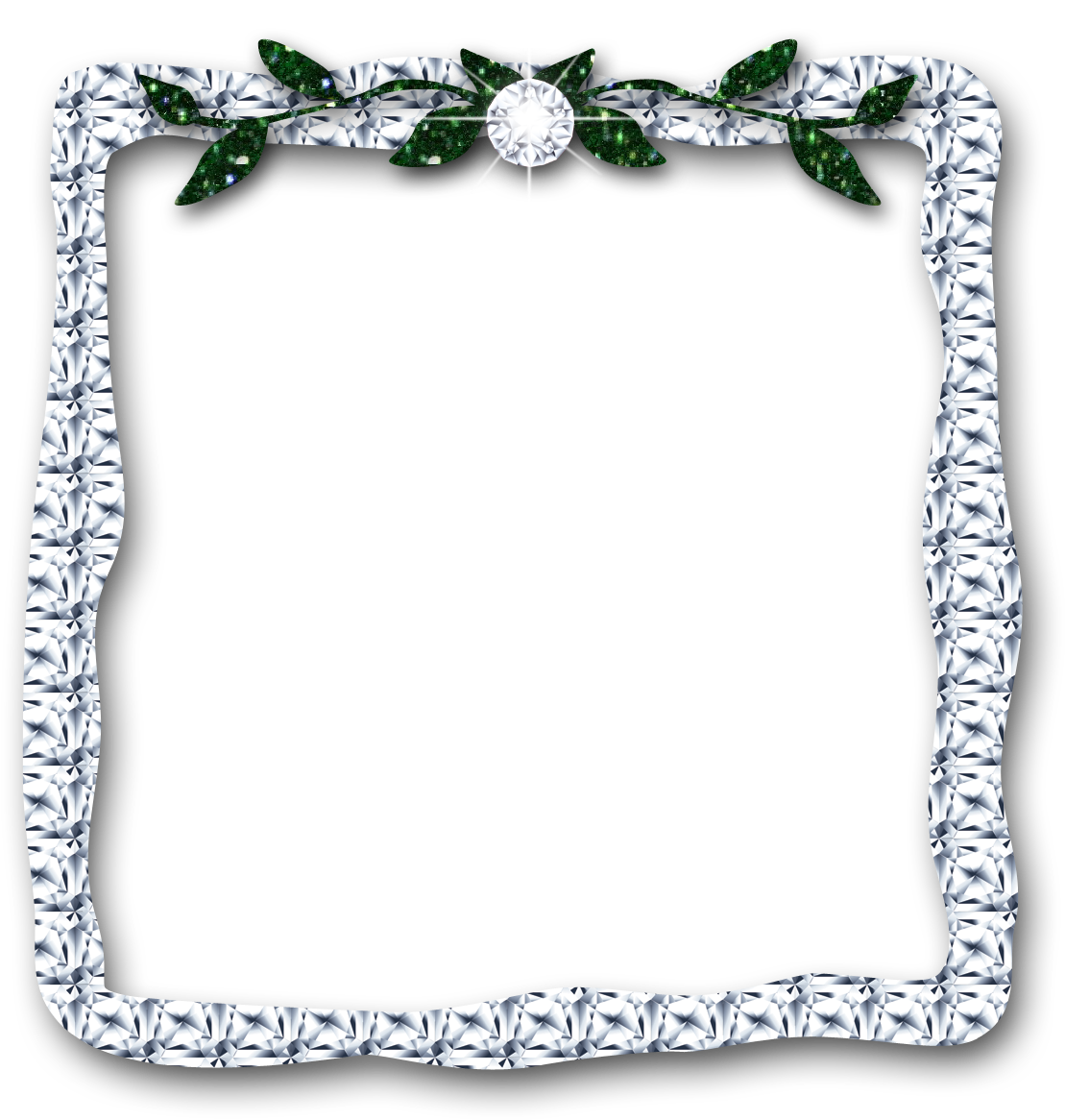 Leaves digital download silver. Diamond clipart frame