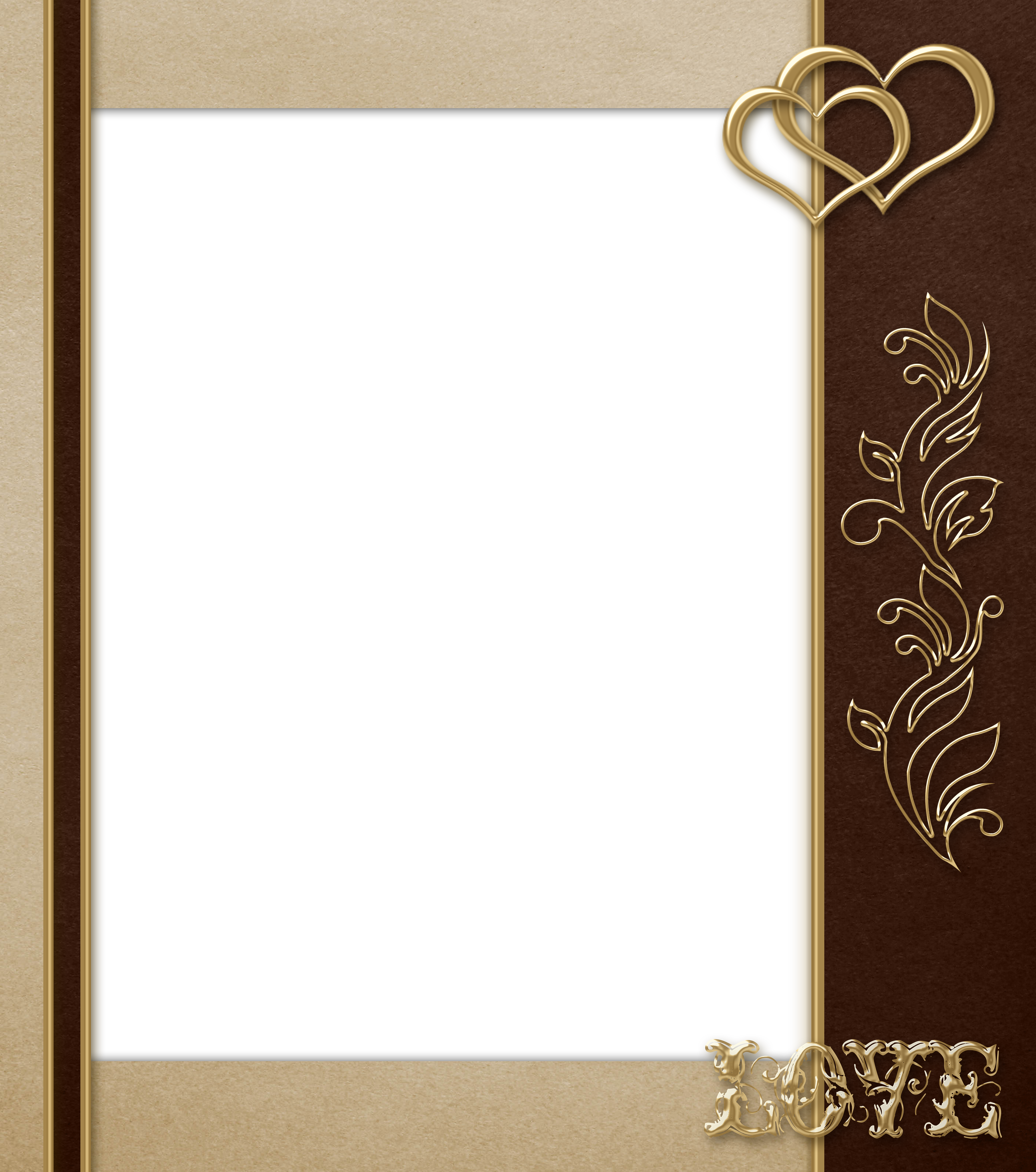 Elegant frame png. Transparent brown with gold
