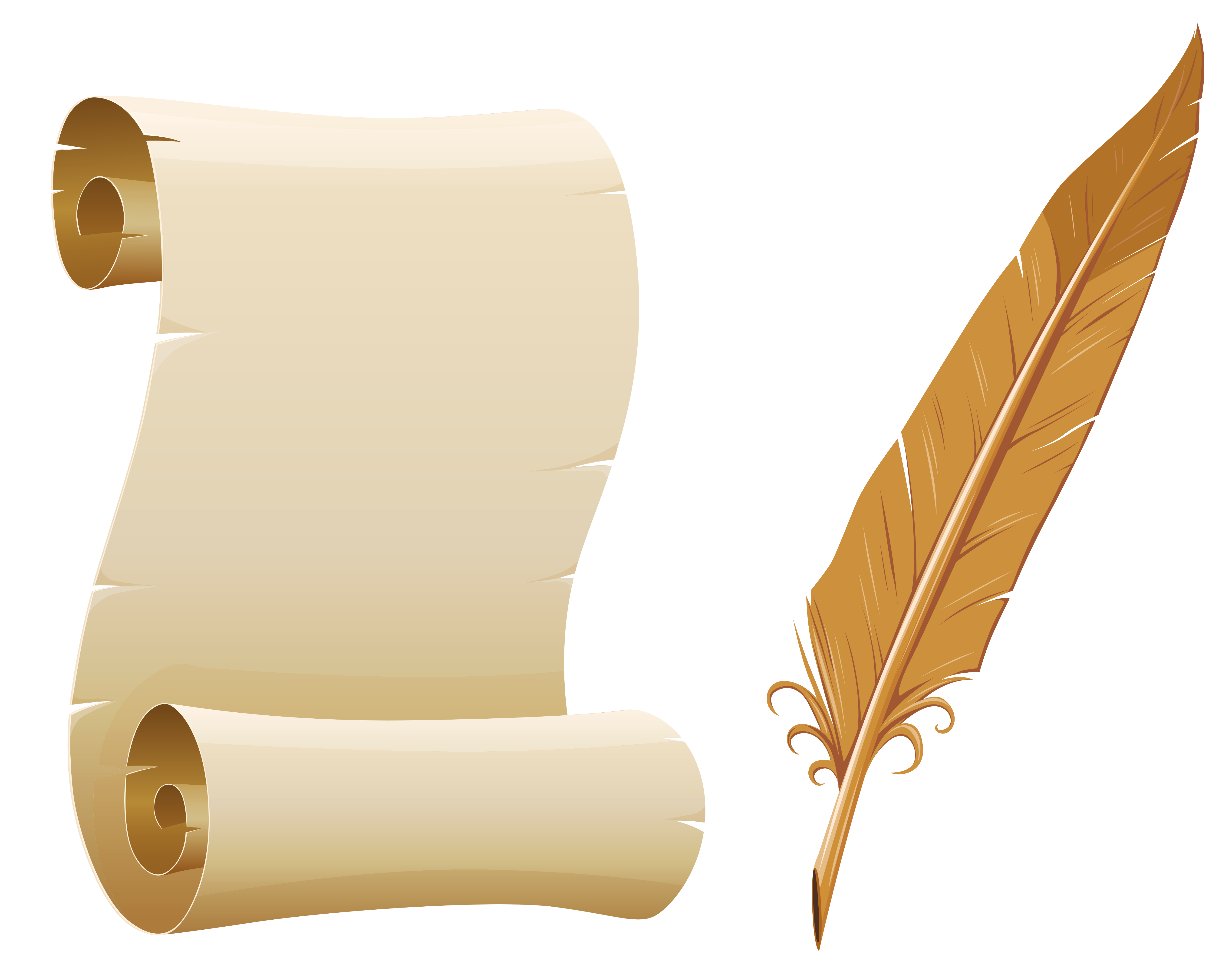 Clipart frame feather. Scrolled paper and quill