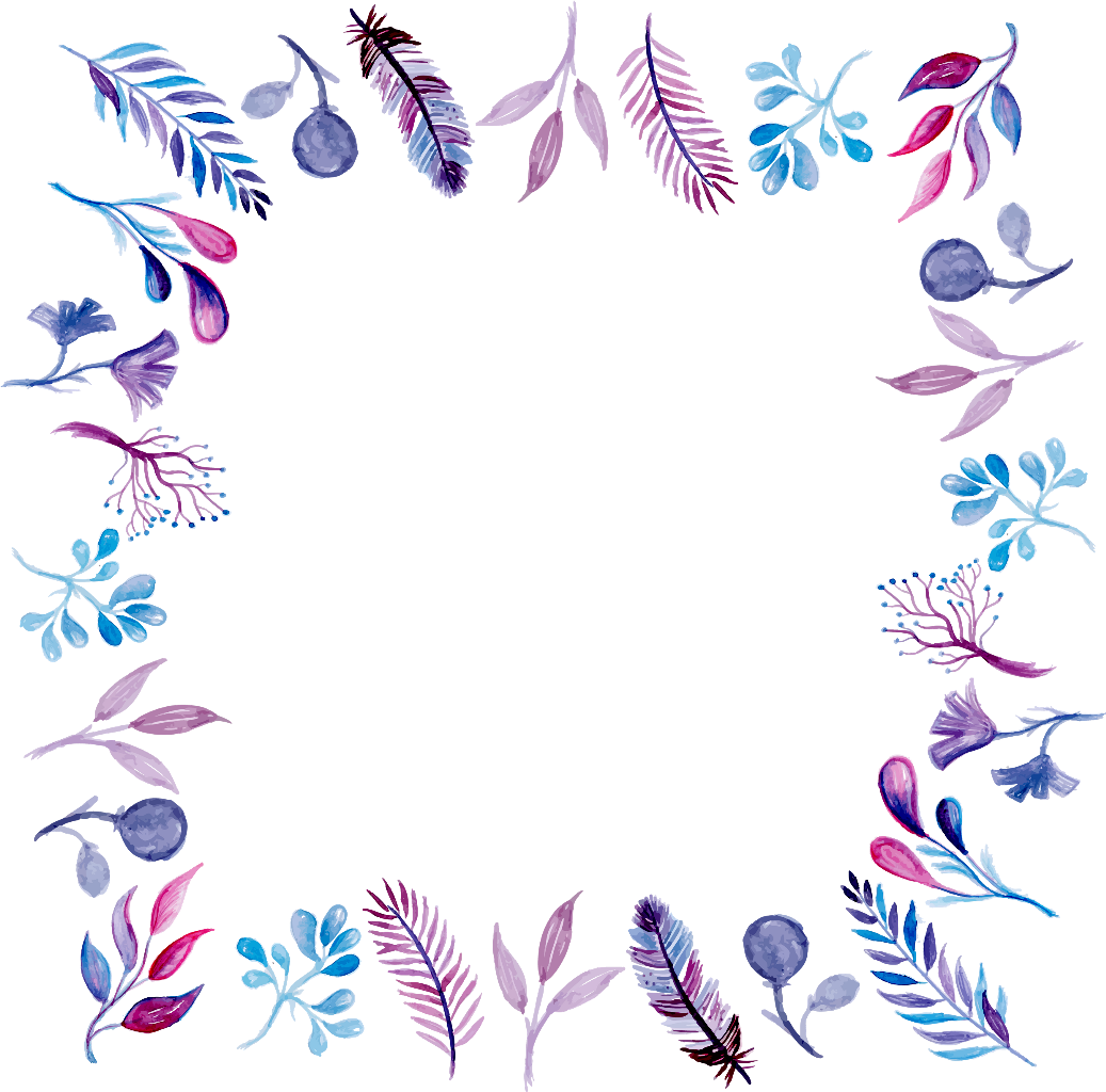 Purple watercolor frame border. Feather clipart borders