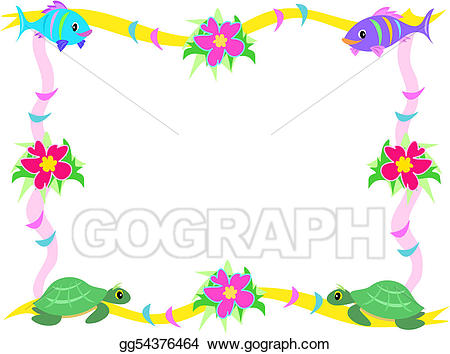Vector art of fish. Clipart turtle frame