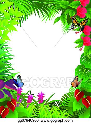 Frame clipart forest. Vector tropical background