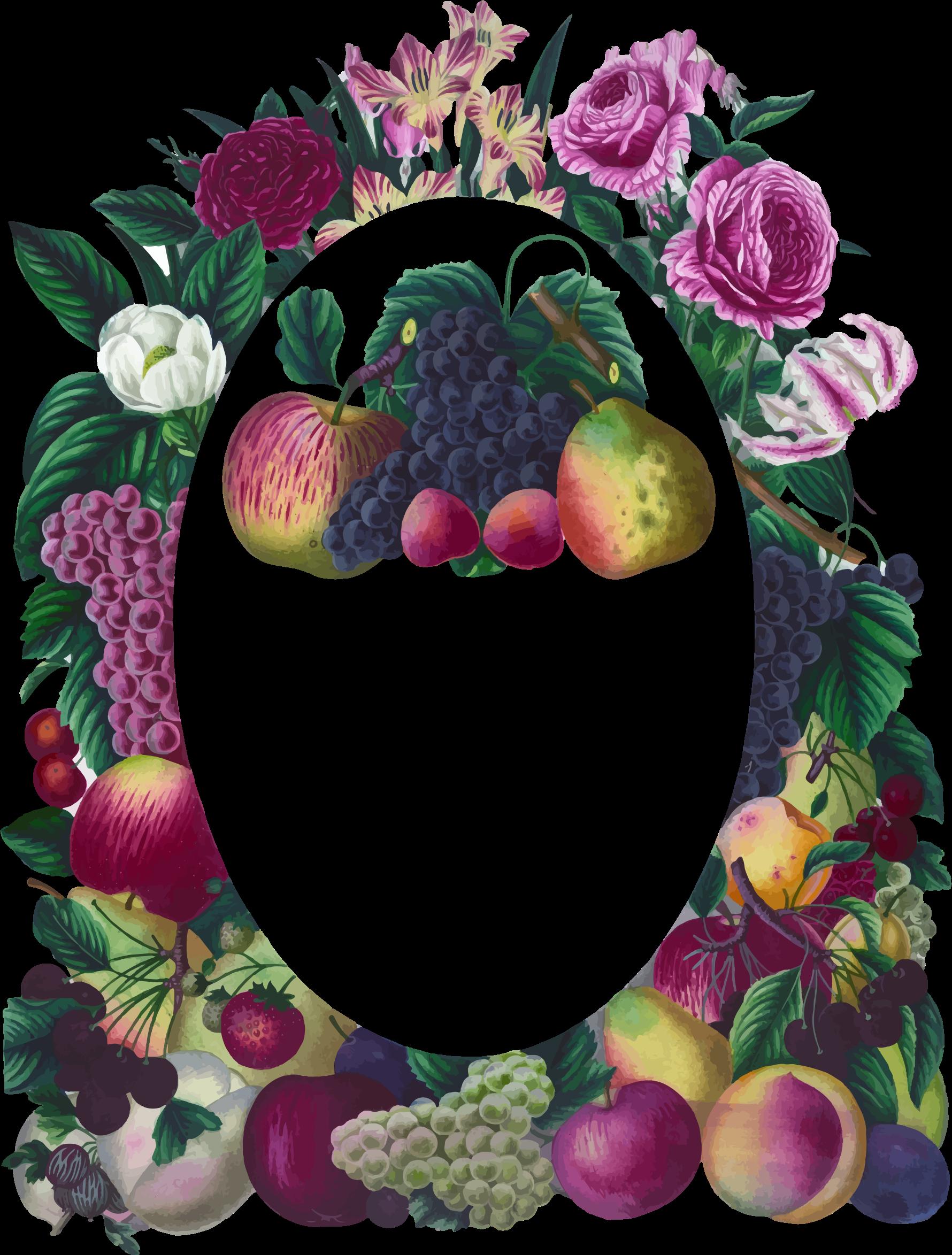 Clipart fruit frame. Vintage floral and big