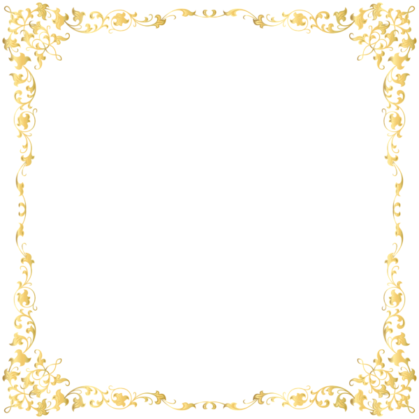 Gold glitter frame png. Decorative transparent border image