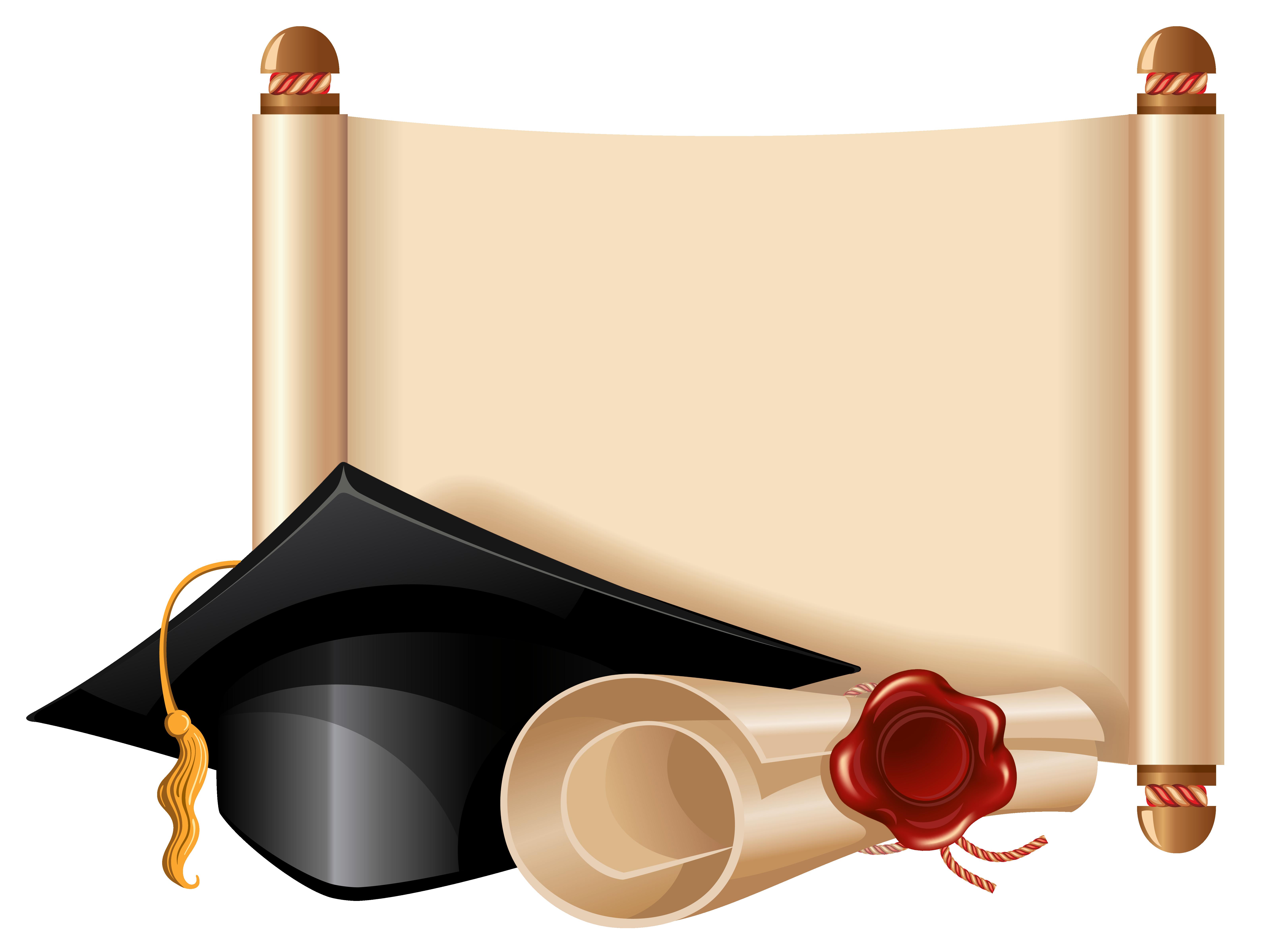 Diploma and cap clipart. Graduation frame png