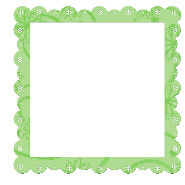 Green frame png. Transparent with flowers elements