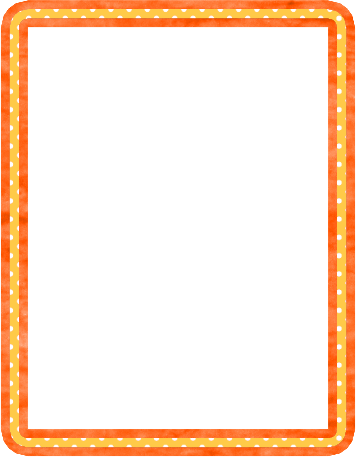 Oranje randen en patronen. Clipart frame hand