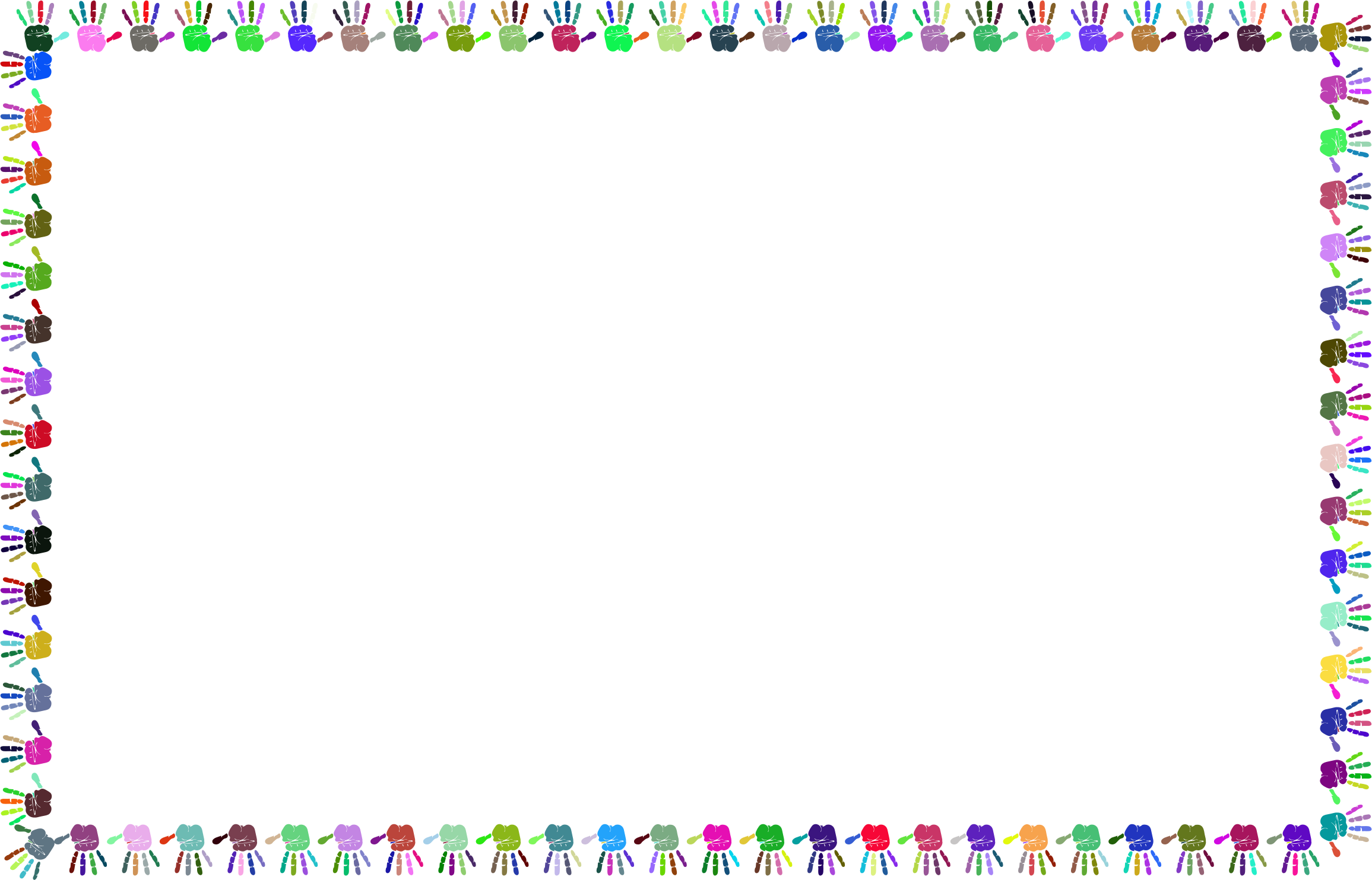 Prismatic handprints big image. Hands clipart frame