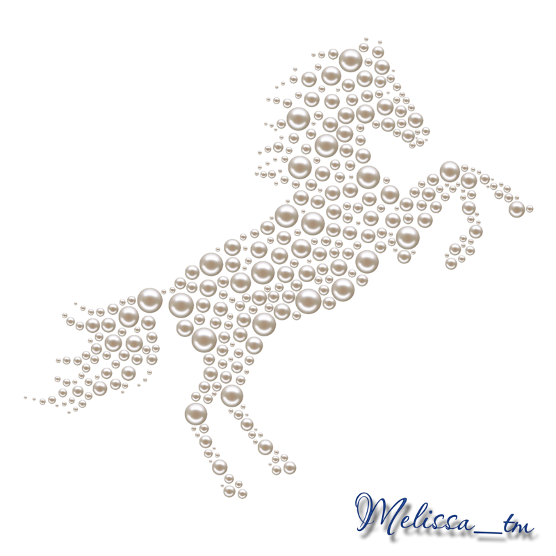 A horse from pearls. Horses clipart frame