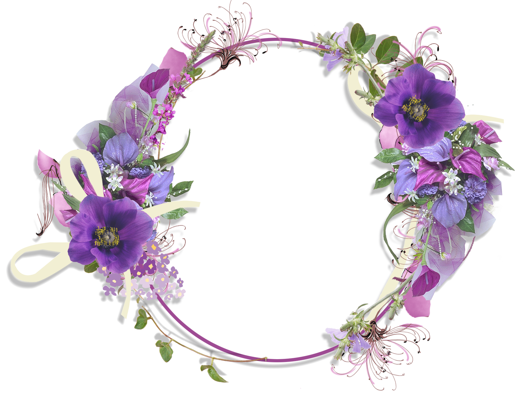 Purple flower round gallery. Lavender clipart frame