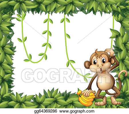 Monkey clipart frame. Vector a of leaves
